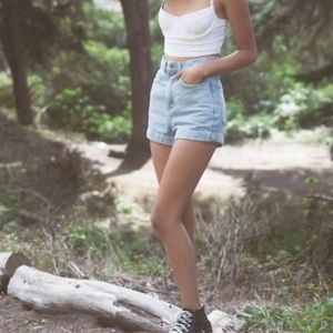 American Apparel high-waisted denim shorts